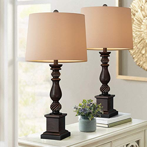 Oneach Table Lamp Set of 2 for Bedroom Rustic Bedside Table Desk Lamps for Living Room Study Office 24