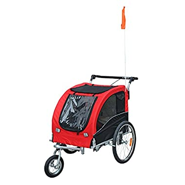PawHut Elite II Pet Dog Bike Bicycle Trailer Stroller Jogger w/Suspension - Red