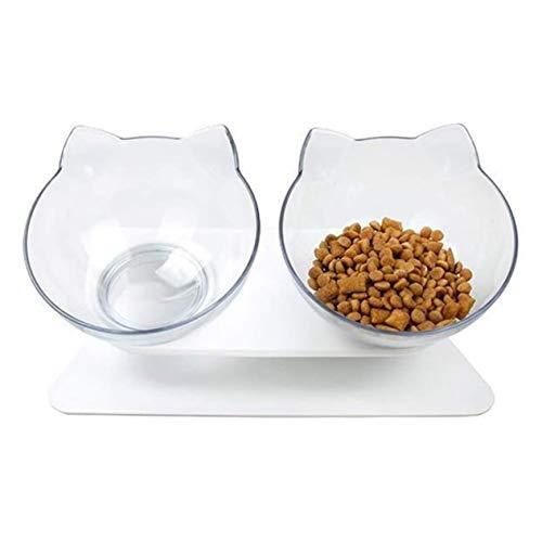 15 Grad Becken Oblique Mouth Double Bowl Hundenapf Haustier Katze Hundefutter Schüssel Anti-Erbrechen Ortopedic Cat Bowl-weiß BCVBFGCXVB