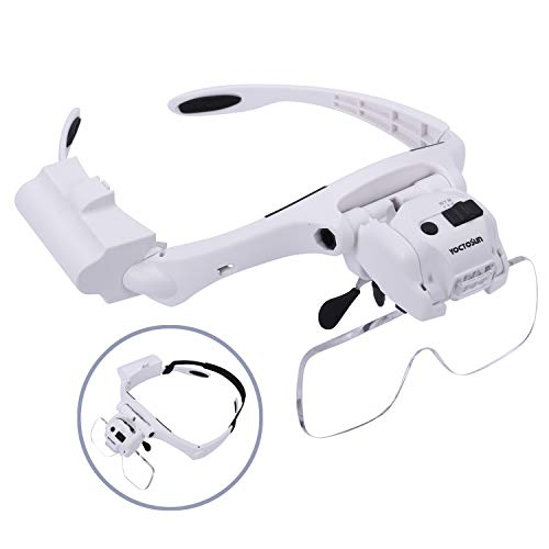 YOCTOSUN Head Magnifier with 5 LED Lights, Hands Free Headband Magnifying Glass with 5 Interchangeable Lenses 1.2X 1.8X 2.5X 3.5X 4.5X, Great Magnifying Glasses for Jewelry, Arts and Crafts, Hobby