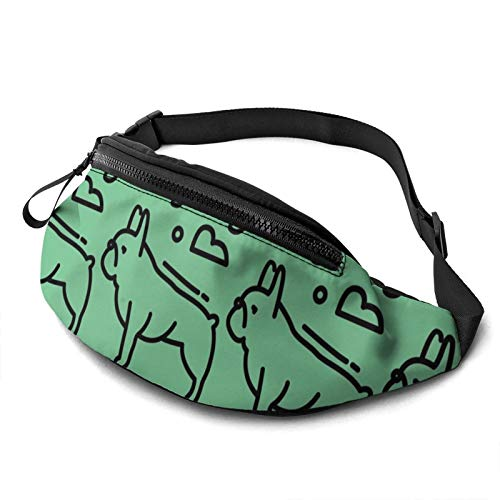 Bolsa de cintura con agujero para auriculares, diseño de Bulldog francés para hombres y mujeres con correa ajustable para exteriores