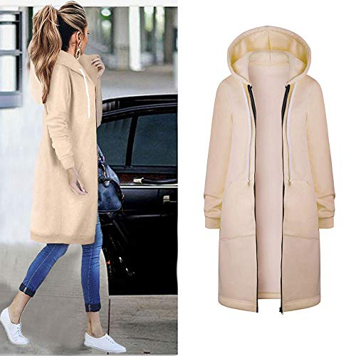 KaloryWee Winter Sale Clearance Coats Women Warm Zipper Open Hoodies Sweatshirt Long Coat Jacket Tops Outwear KH/5XL Khaki