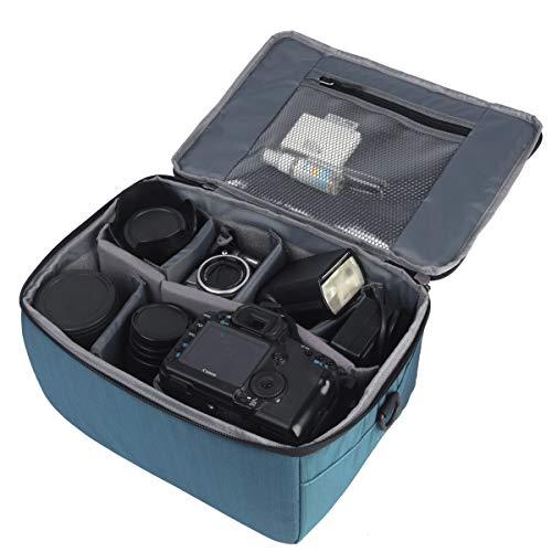 Yimidear Wasserdicht Stoß Partition Gepolsterte Kamerataschen Spiegelreflexkamera Taschen Schutzhülle Mit Top Griff und verstellbarem Schultergurt für SLR DSLR Objektiv oder Blitzlicht(Blue)
