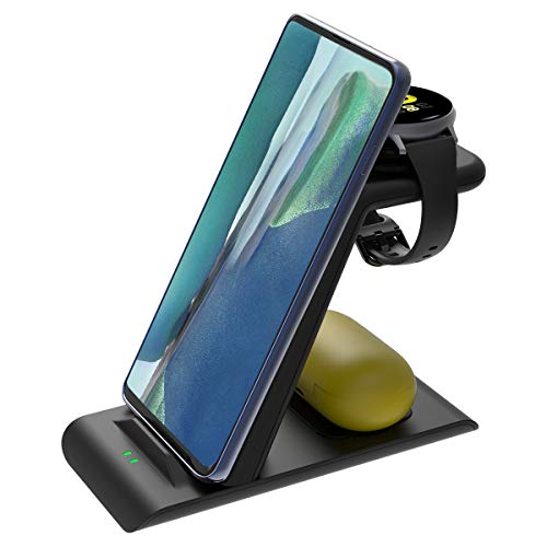 Aimtel Qi Kabelloses Ladestation Kompatibel mit Samsung Ladestation, Ladestation Samsung für Galaxy Watch 3 41mm Galaxy Watch Active 2und1/S9 S10 S20/Note10(20)/S21/S21+/S21 Ultra,Galaxy Buds+/live/Pro