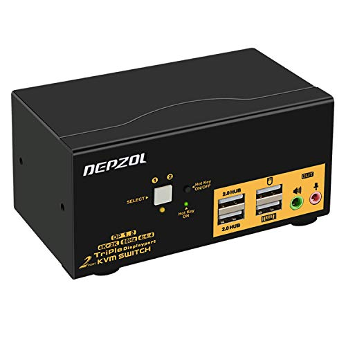 DEPZOL 2 Port KVM Switch Dreifacher Monitor DisplayPort 4K 60Hz, 2 Computer 3 Monitore Tastatur Maus Switch Box mit USB 2.0 HUB und Kabels 623DP