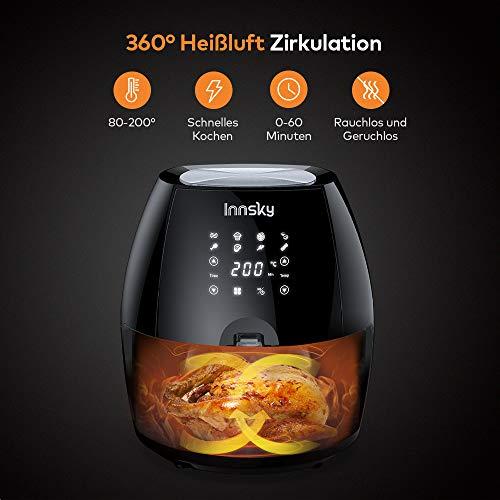Innsky 5,5L XXL Heißluftfritteuse 1700W, Heißluft Fritteuse mit 8 Programmen, Touch Display, Ohne ÖL Air Fryer Multifunktionale Heissluftfritteuse mit Rezeptheft - 3