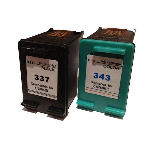 Remanufacturados cartucho de reemplazar HP 337XL (negro) & HP 343XL (Tri-color) alto rendimiento cartucho de tinta (C9364EE C8766EE)
