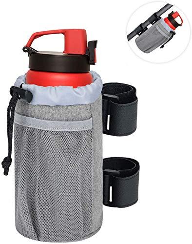 SHENGYUE Soporte para vasos de bar, soporte para vasos de bebidas UTV para scooter/bicicleta/barco/golf/carro/silla de ruedas, soporte de velcro con bolsillo de red, cierre ajustable.
