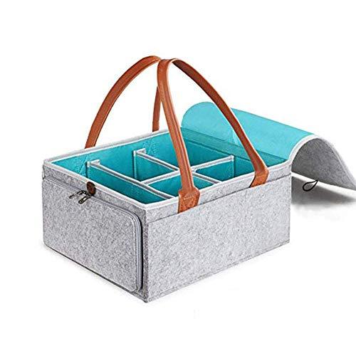 PURATEN Baby Windel Caddy, 5 Fächer + 1 periphere Zwei-Wege-Reißverschlusstasche, Aufbewahrungsbox für Säuglingskinder, Auto-Organizer-Geschenkkorb aus Filz für Neugeborene