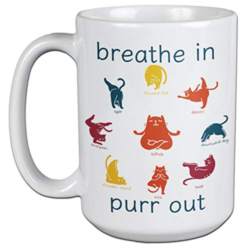 Yoga Lovers Gift - Cat Yoga Mug - Breathe In Purr Out - For Yoga and Cat Lovers
