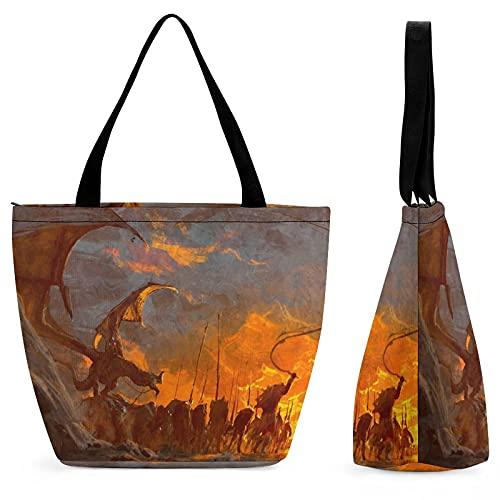 Lord Rings - Bolsa de compras para mujer, bolso de hombro, gran capacidad, moda, conveniente, plegable, trabajo, escuela, viajes