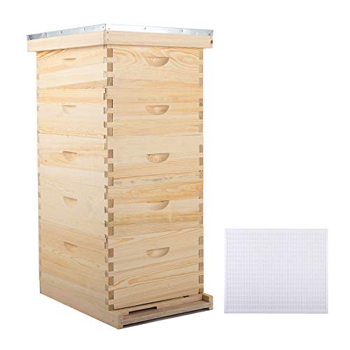CO-Z 5 Layer Bee Hive for Garden, Bee Box for Beekeeper Starter, Beekeeping Supplies Equipment Tool, Solid Wood Honey Bee Hives Kit, Bees House Box for Beginner