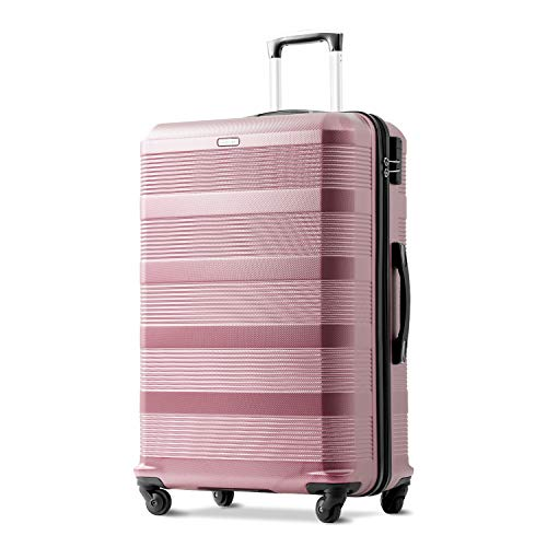 Merax 24 inches Rose Gold Suitcase, Super Lightweight ABS Hard Shell Travel Suitcase Luggage with 360° Wheels Free 3 Year Warranty
