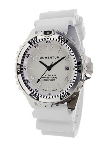 Momentum Damen Quarzuhr M1 Splash by Momentum - Saphir - Stahl Uhren für Frauen - Taucheruhr mit japanischem Uhrwerk & Analog-Display - wasserdichte Damenuhr mit Datum - Lume/weißes Gummi