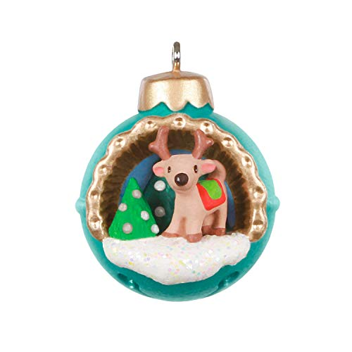 Hallmark Keepsake Christmas Ornament 2020, Mini A World Within Reindeer in Jingle Bell, 1.3