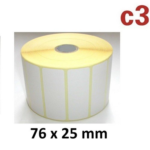 76x25 mm ThermoEtiketten Rolle mit 2.580 Etiketten Zebra,Citizen,Intermec, TEC