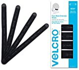 "VELCRO Brand Face Mask Extender Straps 4pk Black, 12"" x 1"" Comfortable and Adjustable Ear Savers, VEL-30084-USA"