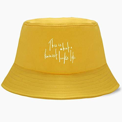 LIUBAOBEI - Cappello a secchio, estivo, da uomo, Panama, da pescatore, in cotone, stile hip hop, da spiaggia, semplice visiera per esterni, casual, da 56 a 58 cm, colore: giallo