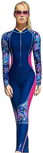 Traje de Traje Largo para Mujer Traje de baño de Manga Larga Traje de Buceo Elástico Longitud Completa Una Pieza Agua al Aire Libre Deportes UV Protección UV (Color : B, Size : Small)