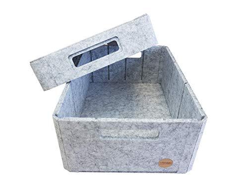 VOIGTdesign Aufbewahrungsbox Filz Regalkorb Filzbox Korb Box Allzweckbox mit Deckel (5 Größen) (Gr. S - 32x24x13cm)
