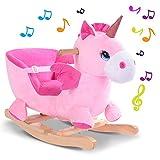 BAKAJI Unicorno a Dondolo Cavalcabile Peluche Giocattolo per Bambini con Effetti Sonori Maniglie e Cintura di Sicurezza