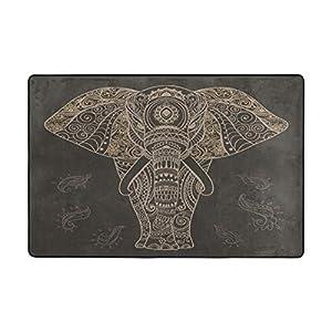 WELLDAY Premium Non-Slip Soft Bathroom Rug Machine Washable Bath Mats - Mandala Elephant
