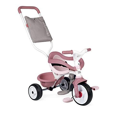 Smoby - Be Move Komfort rosa - Kinderdreirad mit Schubstange, Sitz mit Sicherheitsgurt, Metallrahmen, Pedal-Freilauf, für Kinder ab 10 Monaten