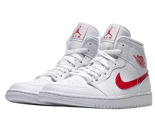 Nike Wmns Air Jordan 1 Mid, Scarpe da Basket Donna, White/Univ Red, 40.5 EU