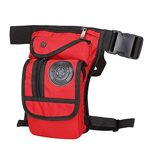 MLAIXN Bolsa Pierna Moto Pernera Moto Riñonera Bolso de la Pierna de la Lona de los Hombres Motocicleta Mensajero Mensajero Bolsas de Hombro Cinturón Hip Bum Cintura Fanny Pack 972 (Color : Red)