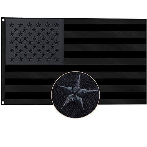 All Black American Flag 3x5 Foot,Embroidered Stars US Flags ,Polyester Oxford cloth Sewn Stripes  Brass Grommets Heavy Duty American USA Flags
