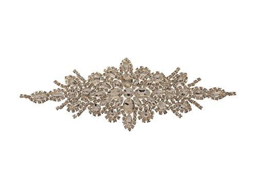 Trimming Shop Hermoso Plateado Cristales Pedrería Motivo Costura Parche Aplique para Boda...