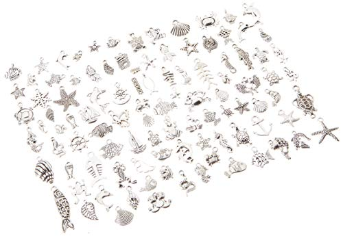 Pack of 100 Mixed DIY Antique Ocean Fish & Sea Creatures Pendants Charms for Crafting,Bracelet Necklace Jewelry Findings Jewelry Making Accessory