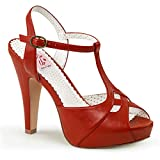 Pin Up Couture Bettie-23, Sandalias con Plataforma para Mujer, Rojo (Red Faux Leather RPU), 36 EU