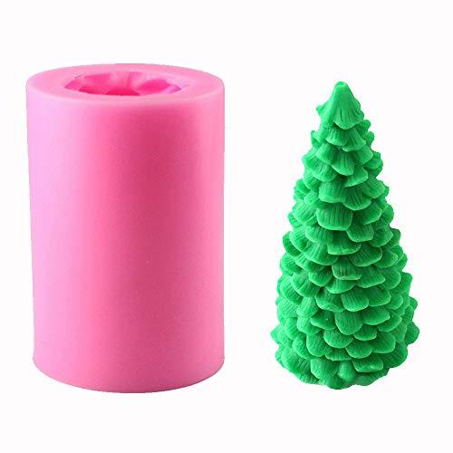 Guanici Forma di candela 3D Stampo per candela natalizia Forme di candele in silicone per albero di Natale Stampi per sapone fatti in casa Per i fai-da-te Candle To,Soap And To Bake Candle Soaps(Rosa)