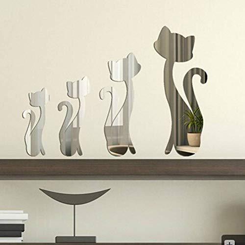 HIJKN Wandaufkleber 4 Teile/Satz Schöne Katzen Silber Spiegel Dekoration Home Room Art 3D DIY Wandaufkleber innendekoration Dekorative widget