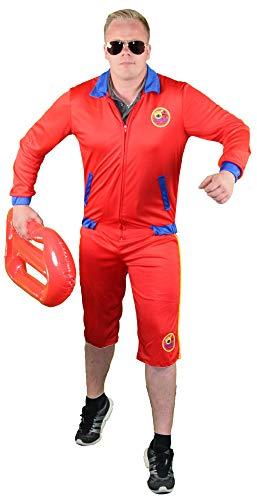 Foxxeo rotes Rettungsschwimmer Kostüm für Herren - Größe M bis XL - Bademeister Lifeguard Größe Fasching Karneval Größe XXL