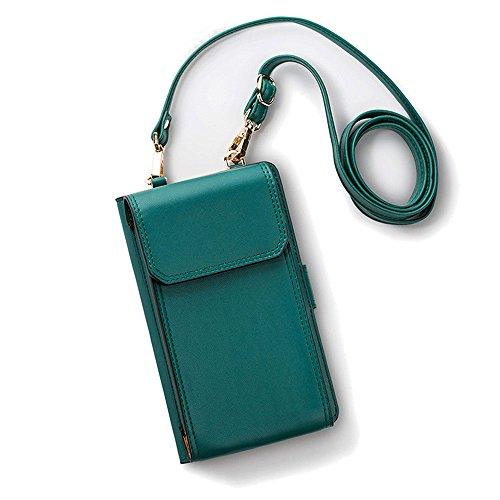 Luxus Matte Echtes Leder Mini Handytasche Handy-Tasche-Beutel mit Gurt Kleine Umhängetasche mit Vielen Fächern, Umhängen Kartentasche Geldbörse für Damen Mädchen