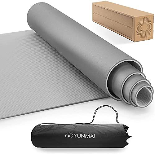 YUNMAI Tappetino Yoga Antiscivolo, Tappetino Imbottito Fitness Pilates Allenamento in TPE a Doppia Faccia Portatile con Borsa da Trasporto 183 x 61 x 0,6cm(Grigio)