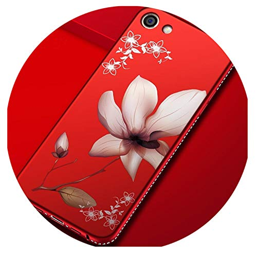 Rhinestone Silicone Floral Lily Phone Case For Iphone Xs Max XR Case For Iphone 5 6S 7 8 Plus Glitter Matte Luxury Diamond Cover 01-Red For iPhone 6plus