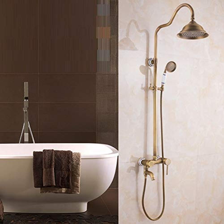 Europische Bad Keramik und Kupfer Dusche, Wasserhahn, dritter Gang Hand- und oben Dusche Kombination, an der Wand angebrachte Dusche einstellen