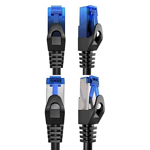 KabelDirekt Bundle, 0.25 m, Cable de red, Ethernet, cable LAN y Patch y cable de red, Ethernet, LAN de 5 m (transmite la máxima velocidad de fibra óptica, plata)