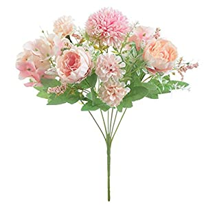 Artificial Peony Flowers – Fake Peony Silk Hydrangea Bouquet Decor, Plastic Carnations Realistic Flower for Wedding Home Decoration, 2Pcs (Pink)