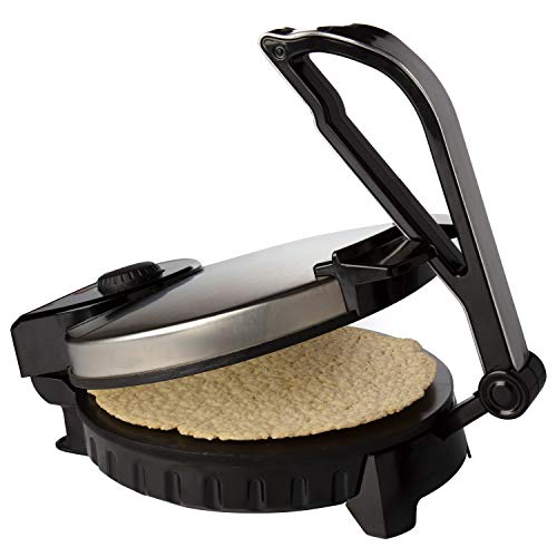 """CucinaPro Electric Tortilla Maker - 10"""" Pitas, Chapati, Roti, Flatbread, Non-Stick Cooking Plates with Ready Light and Cord Wrap"""