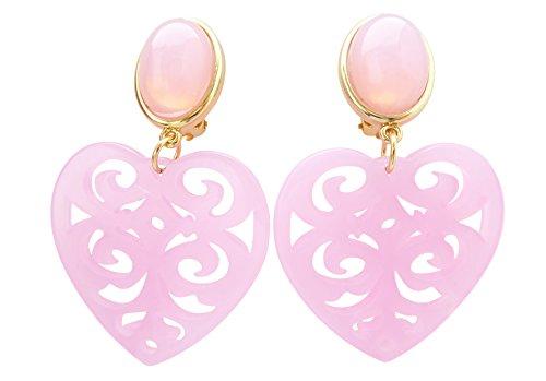 Sehr große leichte Ohr-Clips vergoldet rosa Stein herz-förmiger Anhänger Valentinstag Dirndl Tracht Statement Glamour Party Geschenk Designer JUSTWIN