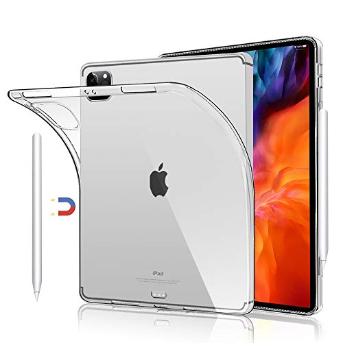 Clear Back Cover Cases for iPad Pro 12.9 inch 4th Generation 2020 and 3rd Generation 2018, Support Apple Pencil 2nd Gen Charging, Case for iPad Pro 12.9' 4th/3rd Gen