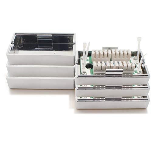 1aTTack.de Verbindungsbox 361841 LSA+ Netzwerk Anschlussbox Verlängerung LSA+ Montage CAT.5 3 Stück Silber