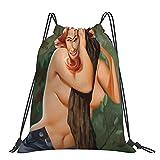 Bolsas de madera Ninfa Pinup Gril Sexy Tree Leaves Retro Mochila con cordón para deportes, gimnasio, para mujeres, hombres, niñas, para yoga, gimnasio, natación, viajes, playa, talla única