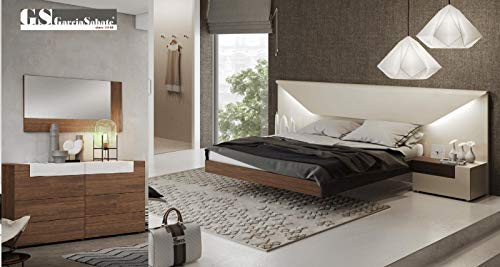 Why Choose White & Walnut Laquer Finish King Bedroom Set 5Pcs w/Double Dresser Soflex Elena