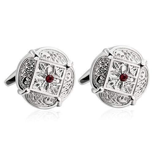 Daesar 1 Paar Silber Manschettenknöpfe Hemd Blume Rot Zirkonia Herren Hochzeit Manschettenknöpfe Edelstahl mit Box