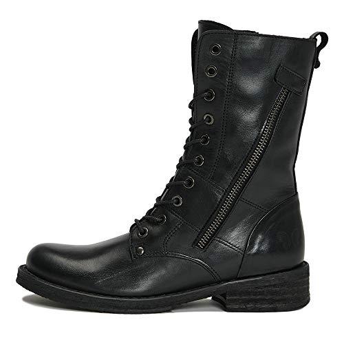 Felmini - Damen Schuhe - Verlieben Cooper C503 - Schnürung Stiefel - Echtes Leder - Schwarz - 38 EU Size